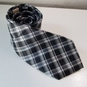 Michael Kors black plaid mens silk tie